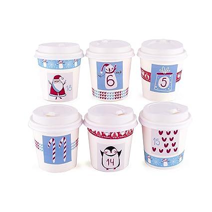 1 x 24 Tazas para llenar Incl Pegatinas y Accesorios Pajoma Calendario de Adviento Tazas Azules