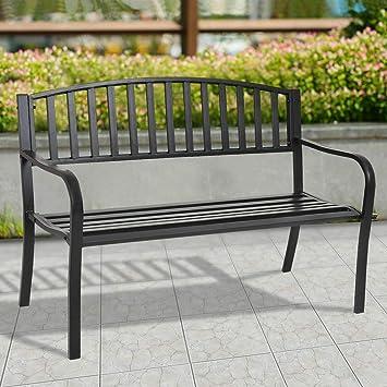 Excellent Amazon Com Steel Frame Garden Bench Patio Garden Park Yard Creativecarmelina Interior Chair Design Creativecarmelinacom