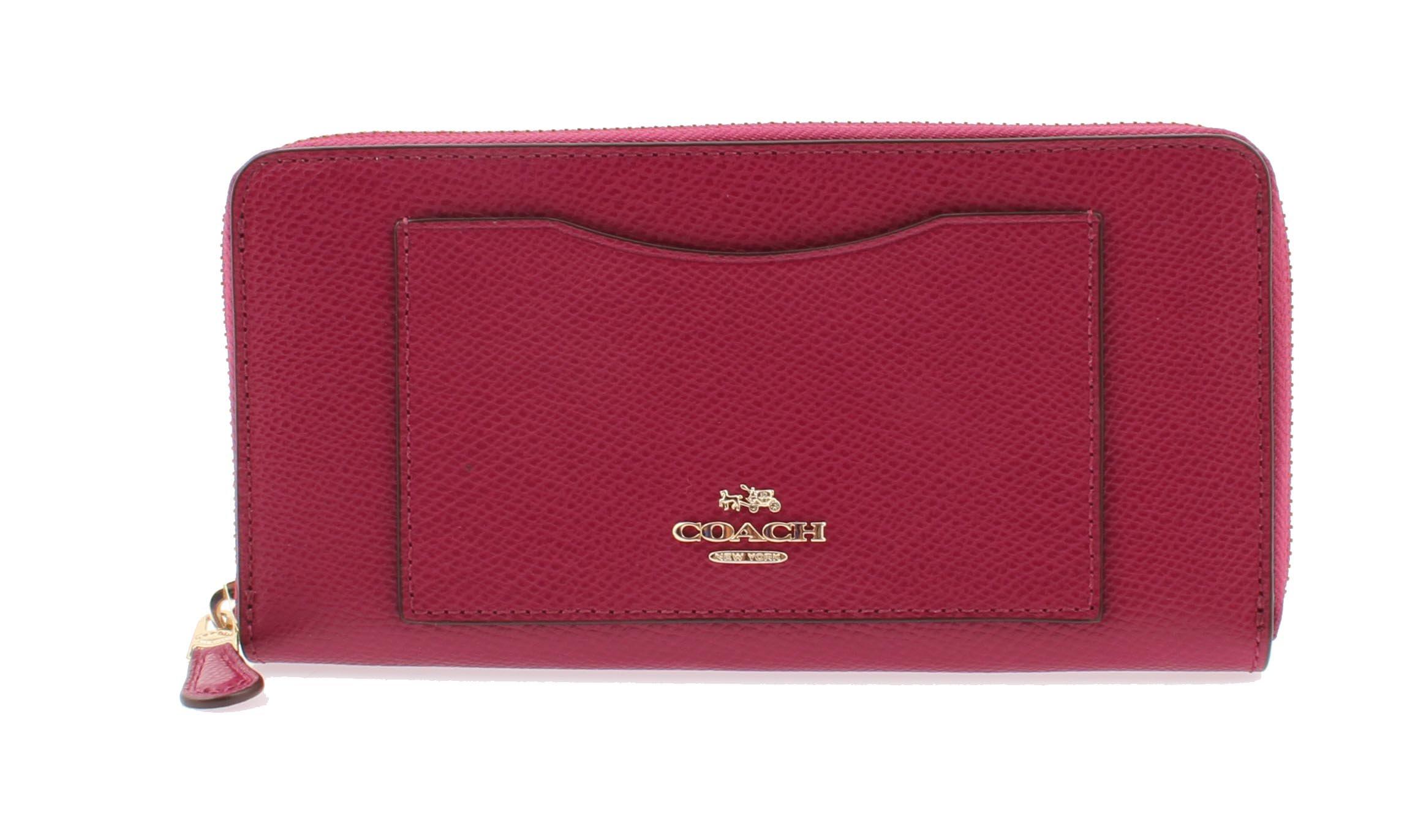 Coach Crossgrain Leather Accordion Zip Wallet in Fuchsia - F54007 IMFUS