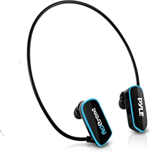 Waterproof MP3 Player Swim Headphone Submersible IPX8 Flexible WrapAround Style Headphones Builtin Rechargeable Battery USB Connection w/ 4GB Flash Memory & Replacement Earbuds Pyle PSWP6BK Black