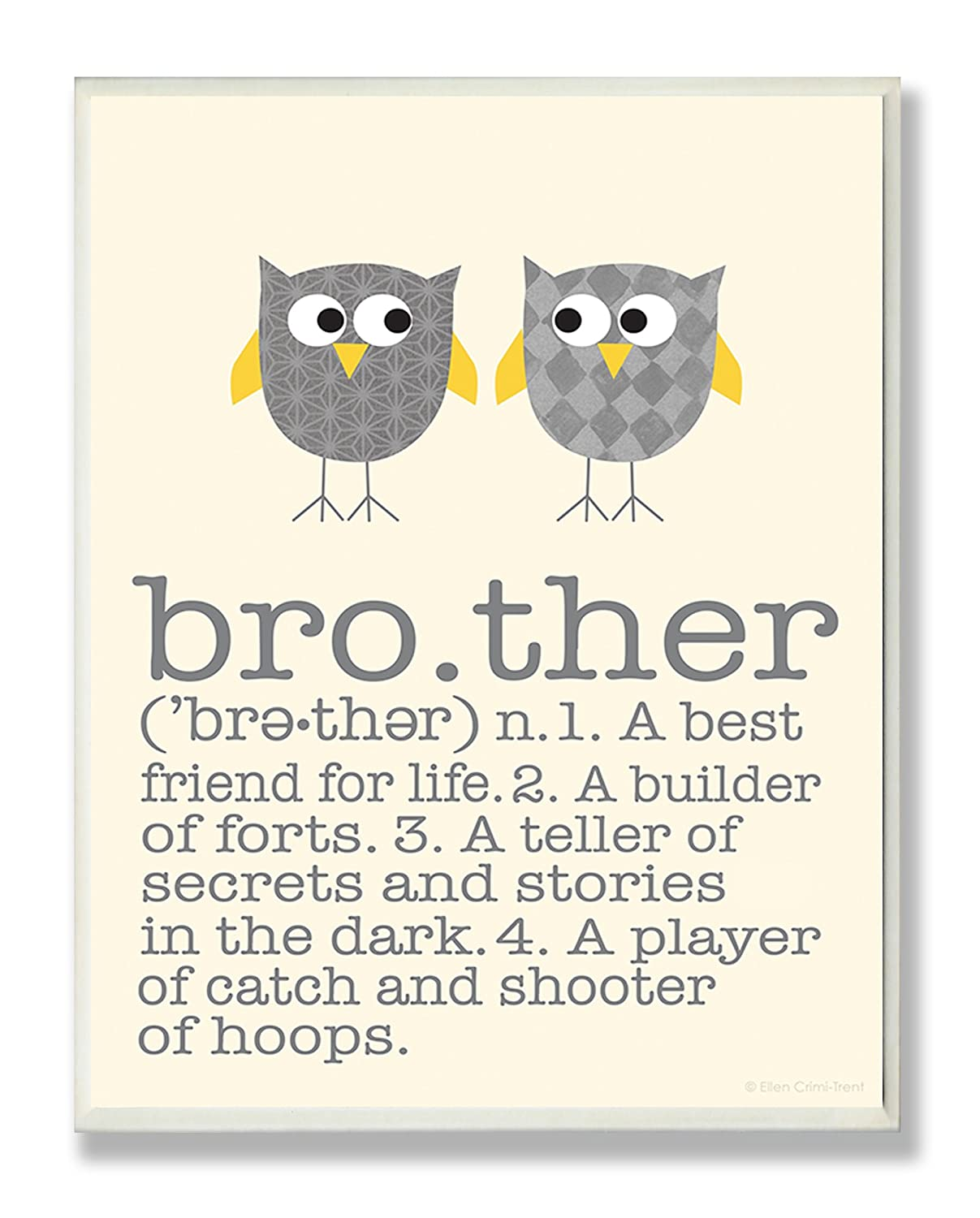 The Kids Room by Stupell Definition Of Brother With Two Grey Owls Rectangle Wall Plaque Proudly Made in USA 11 x 0.5 x 15