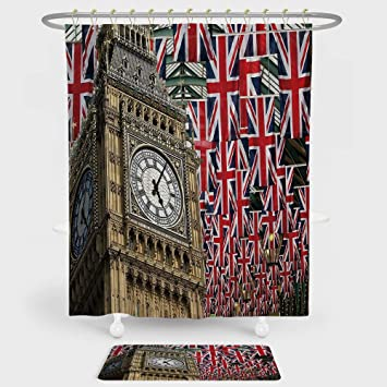 IPrint Union Jack Shower Curtain And Floor Mat Combination Set UK Flags Background With Big Ben
