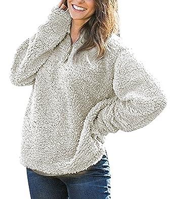 Hunleathy Women's Winter Warm Fleece Pullover Fashion Solid ...