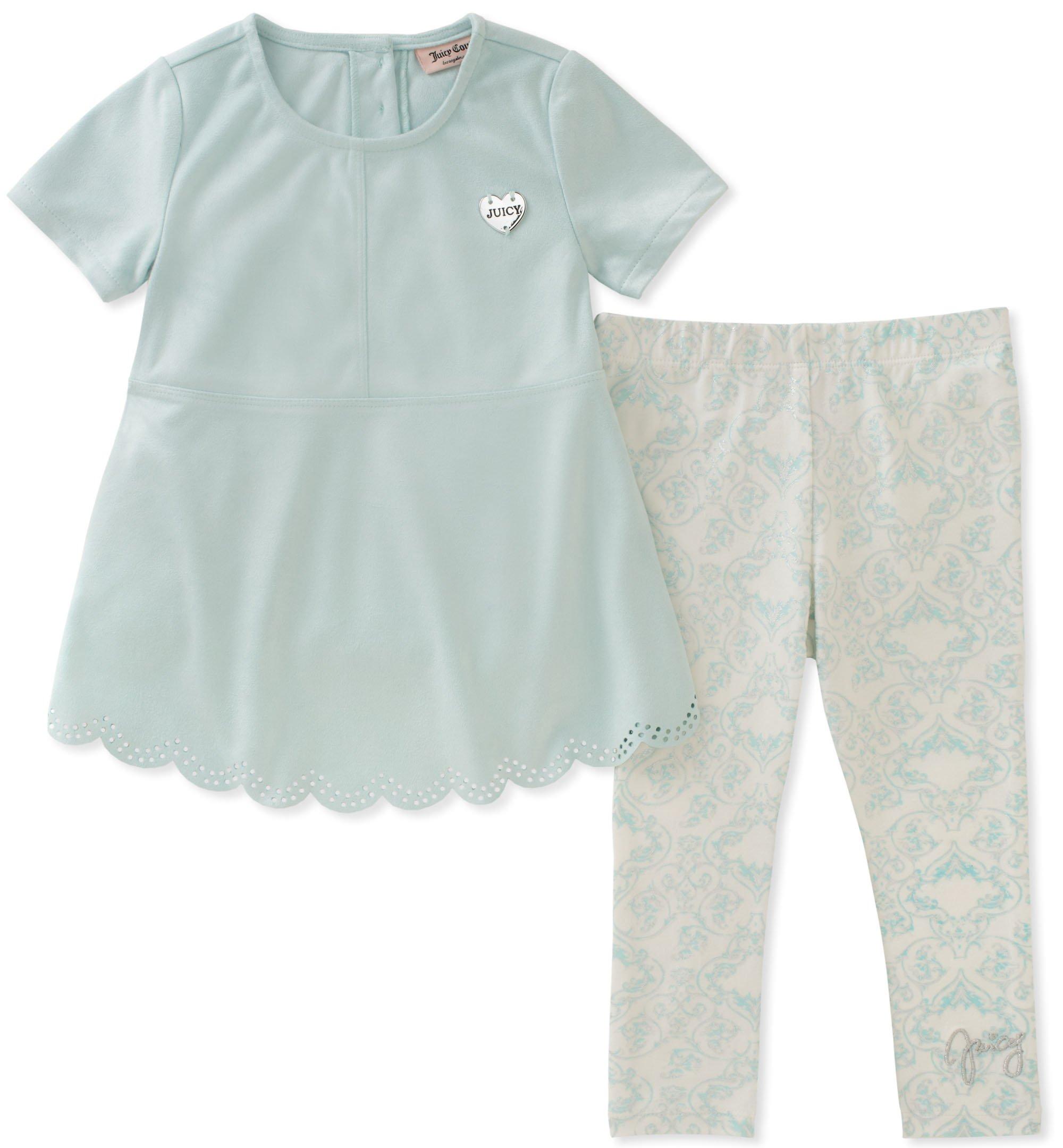 Juicy Couture Girls' Toddler 2 Pieces Tunic Set, Aqua, 2T