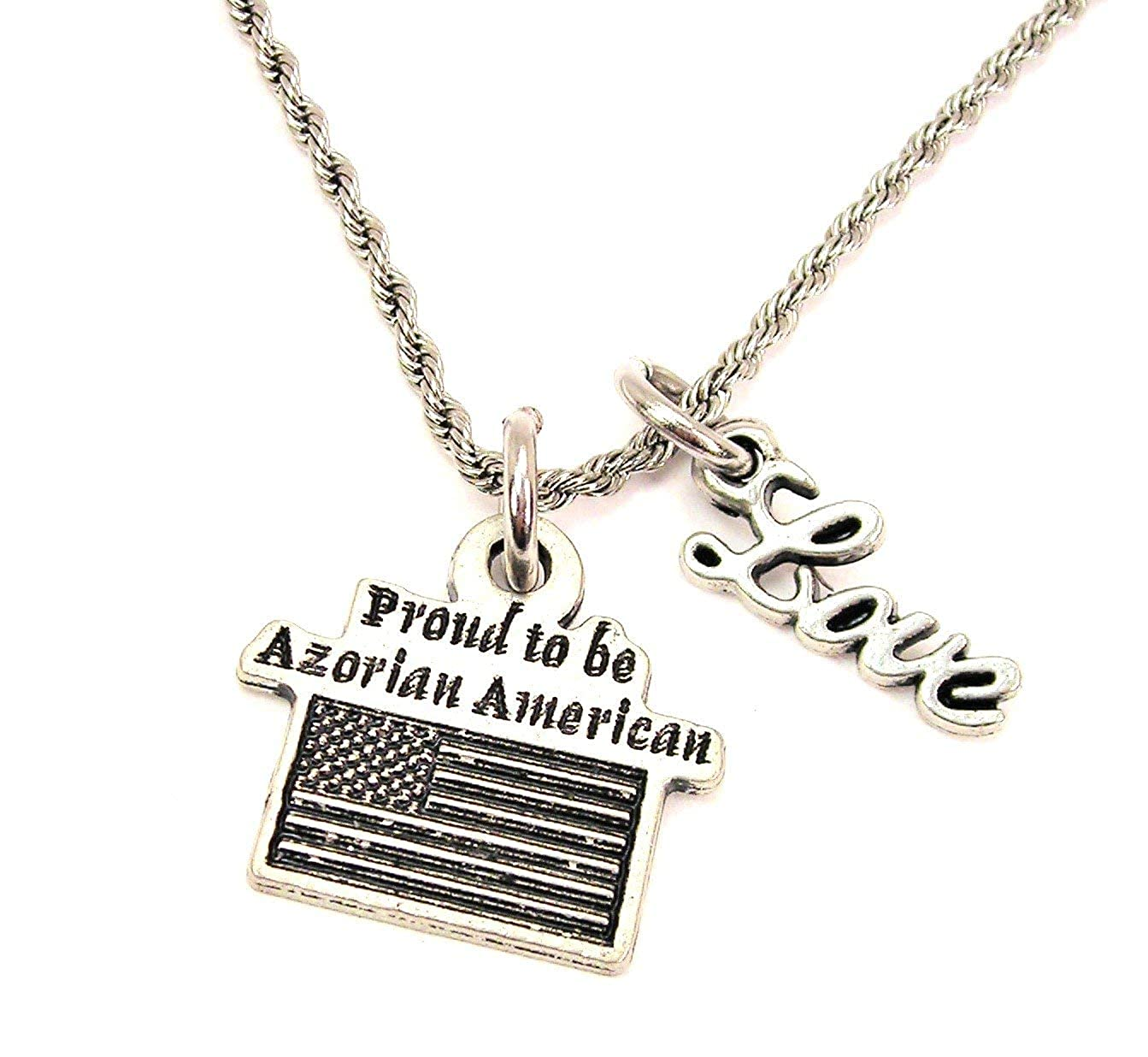 ChubbyChicoCharms Proud to Be Azorean American Stainless Steel Rope Chain Necklace with Cursive Love Accent