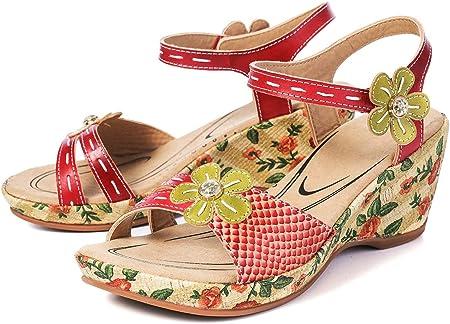 Sandalias de cuña para mujer, de gracoot, de piel, con puntera abierta, con plataforma, para vestir, bohemio, casual, de playa, antideslizante, con velcro, tangas cómodas, talle ancho 5-8