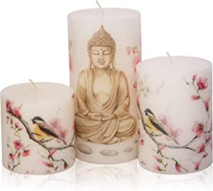 Blend-Divine Set of 3 Budha Print Pillar Candles Decoration Dinner Wedding Party Candles – Perfect Use for Home Décor - Church-Spa Candle, Restaurant - 1560 gm