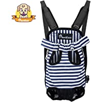 Pawaboo Pet Carrier Backpack, Adjustable Pet Front Cat Dog Carrier Backpack Travel Bag, Legs Out, Easy-Fit for Traveling Hiking Camping, Small Size, Blue and White Stripes