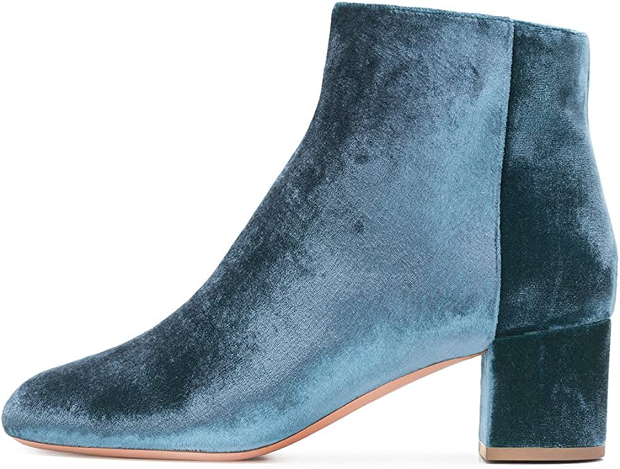 Details about  /Women Round Toe Block Heel Back Zipper Ankle Boots Chelsea Casual Office Shoes D