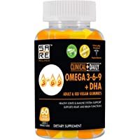 CLINICAL DAILY Vegan Omega 3 6 9 Fatty Acids DHA Supplement with Chia Oil - Advanced Adult Kid Formula for Heart, Brain, Immune System, Joint Support. Lemon Orange Flavor Gluten Free Gummies. 60 Count