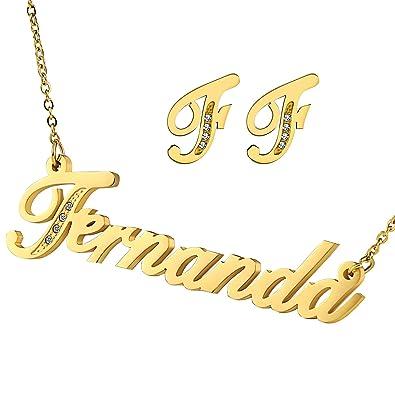 Acero inoxidable Adisaer collar nombre Fernanda pendientes ...