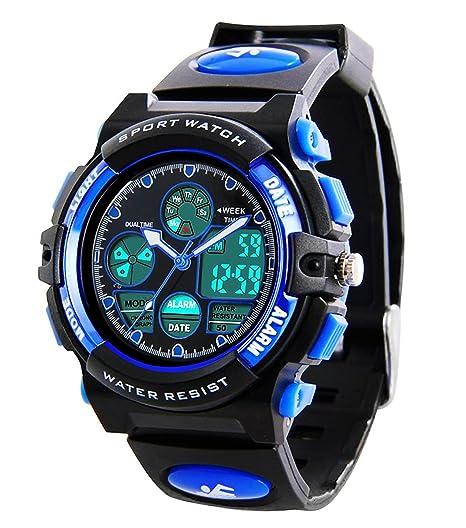 Kinder Sport Outdoor Digital Analog Quarz Dual Time Zone Wasserdichte PU Harz Band Uhr mit Chronograph, Wecker, klassisches D