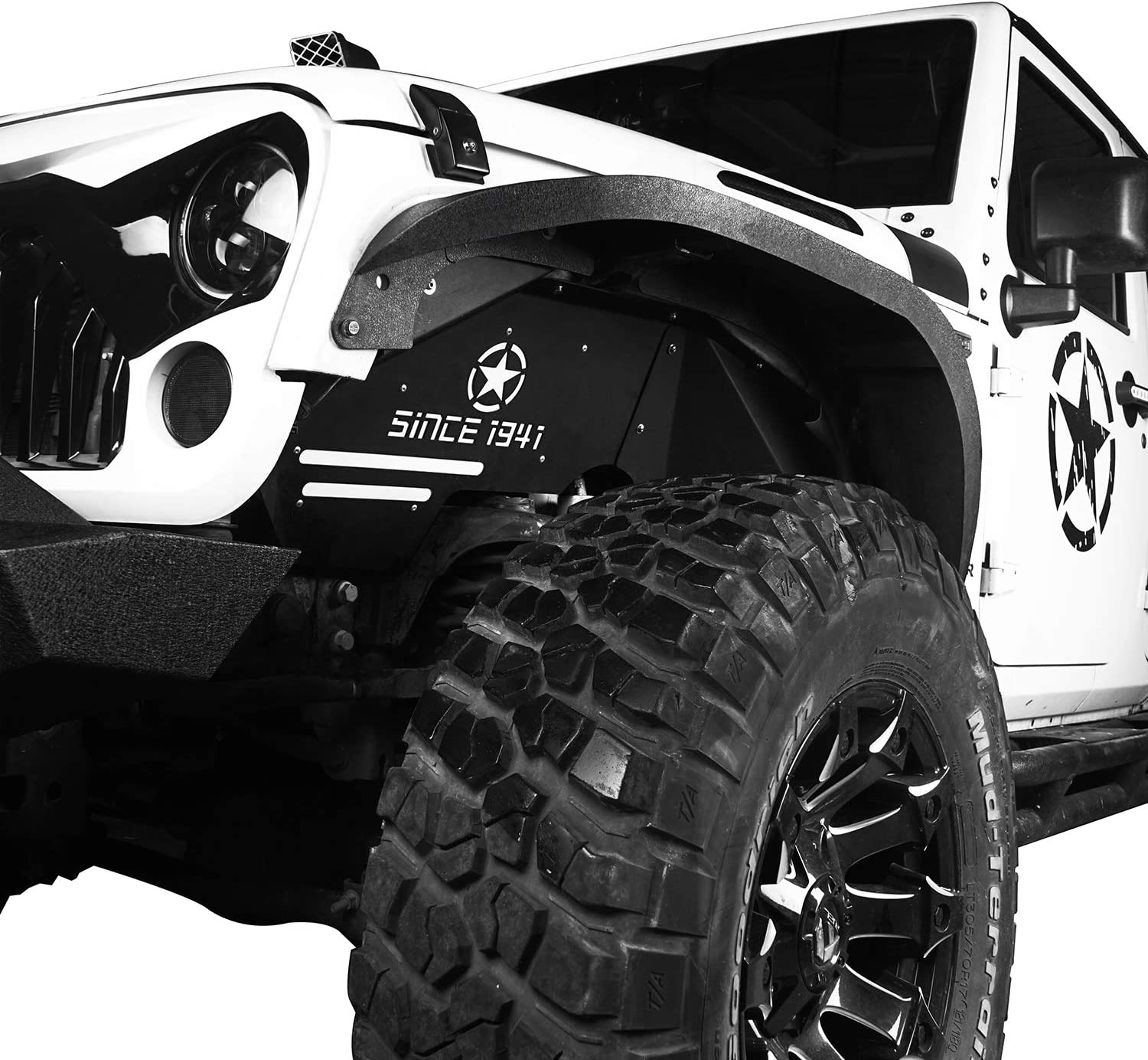 Front Inner Fender Liners Kit for 2007-2018 Jeep Wrangler JK /& Unlimited Hooke Road Jeep Wrangler JK Fender Flares