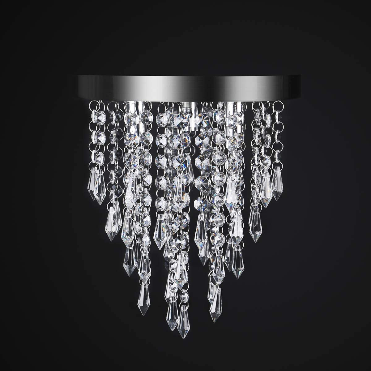 chandeliers amazon com lighting \u0026 ceiling fans ceiling lightscrystal chandelier,kakanuo modern crystal ceiling light,3 lights,flush mount crystal light