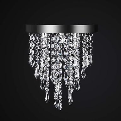 Crystal Chandelier,Kakanuo Modern Crystal Ceiling Light,3 Lights,Flush Mount Crystal Light Fixture for Bedroom,Hallway, Living Room, Kitchen, Dining Room