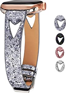Greaciary Glitter Watch Band Compatible with Apple Watch Series 5/4/3/2/1,Hollow Design Breathable Sparkle Replacement Straps Compatible with iWatch 38mm 40mm 42mm 44mm (Grey, 42mm/44mm)