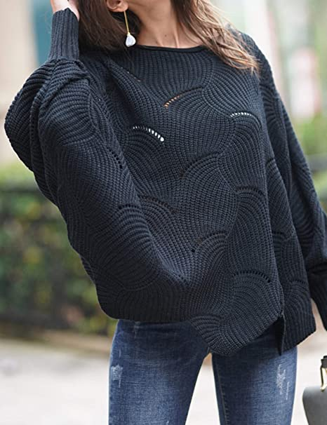 2836195ee Relipop Women s Pullover Batwing Sleeve Loose Hollow Knit Sweaters at  Amazon Women s Clothing store