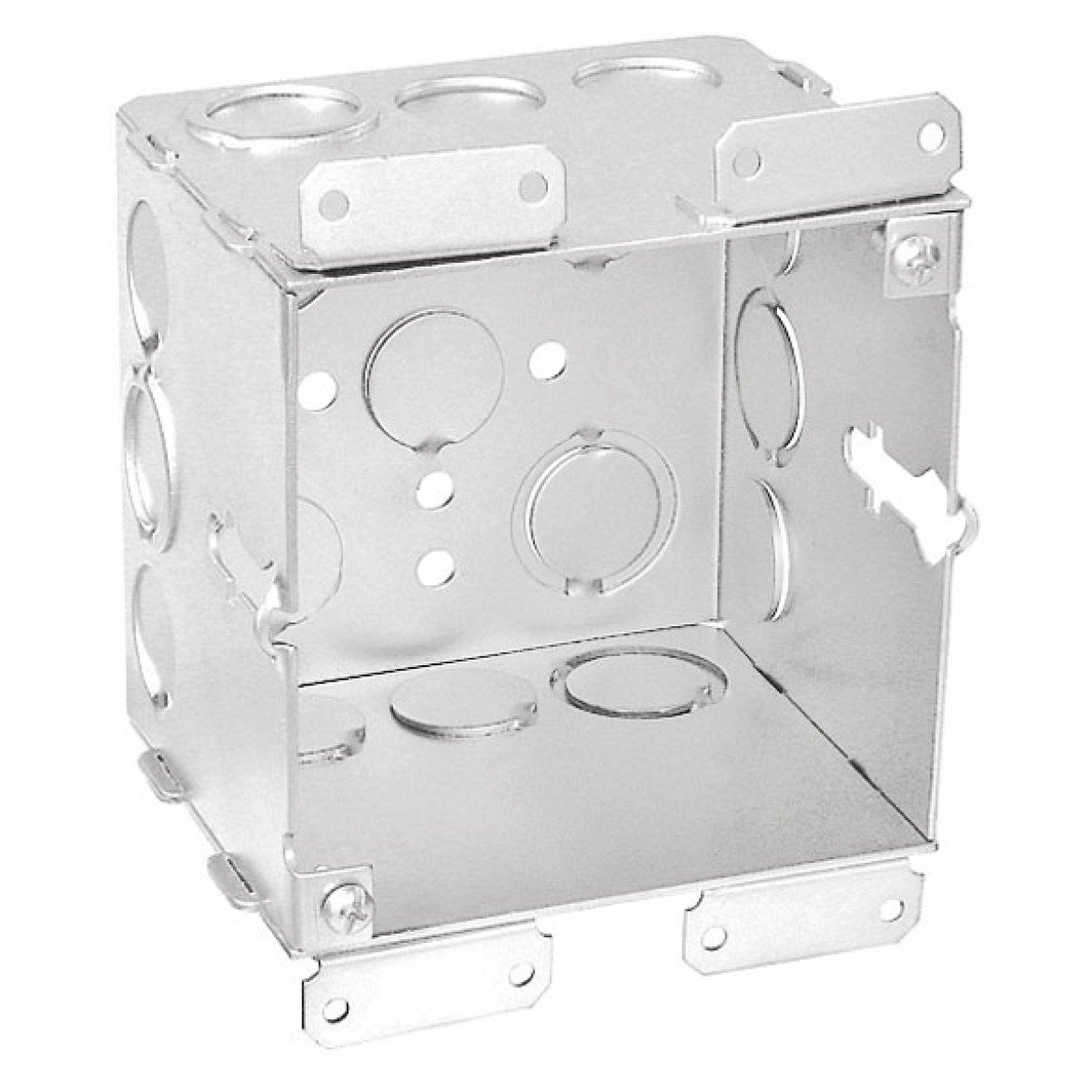 1 Pc, 4'' Square, 3-1/2 In. Extra Deep Old Work Junction Box, (8) 1/2 In & (4) 1/2-3/4 In. Side Knockouts; (3) 1/2 In & (2) 1/2-3/4 In. Bottom Knockouts, Zinc Plated Steel