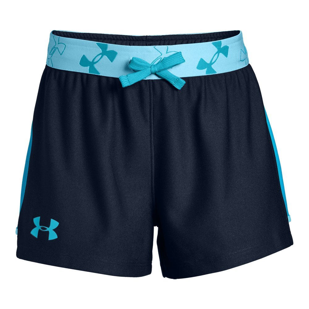 Under Armour Girls' Kick it Shorts, Academy (408)/Venetian Blue, Youth X-Small