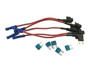 KOLACEN Automotive Car Truck 5 Pieces 16 Gauge Add-a-circuit Fuse TAP Adapter for Mini Blade Type Fuse + 5 Pieces 15Apm Mini Fuse