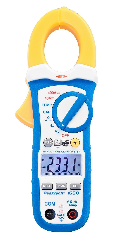 PeakTech True RMS Stromzange 400A AC DC und Digital Multimeter 4000 Counts, mit Durchgangsprü fer und NCV - CAT III 600V, 1 Stü ck, P 1650