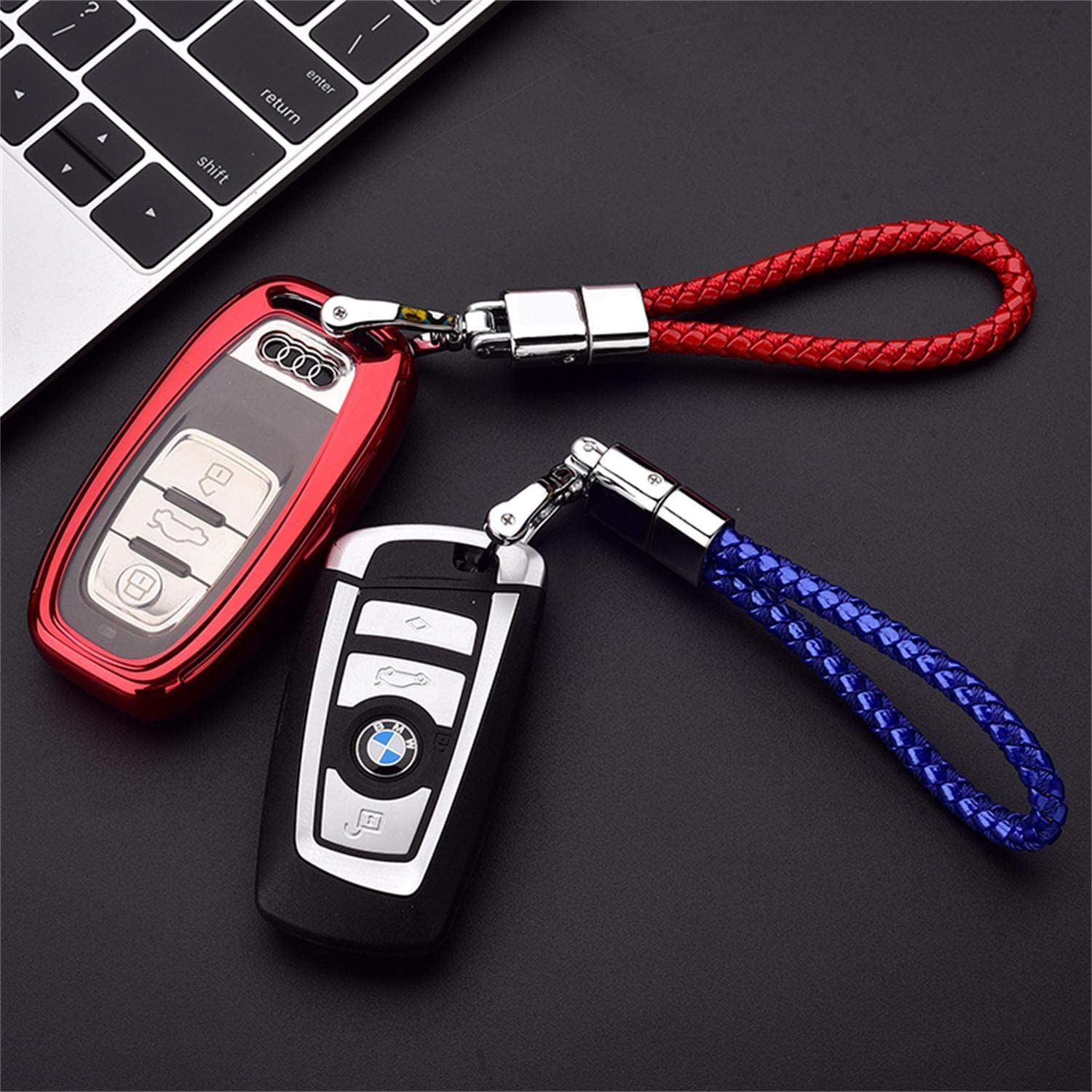 Key Chain-Red Fashionable Car Key Chain,Accessories Fit BMW Honda Audi Lexus Ford VW Mercedes Benz Nissan Cadillac Maserati Volvo Toyota,Key Chain Key Ring Metal Alloy BV Style Leather Gift