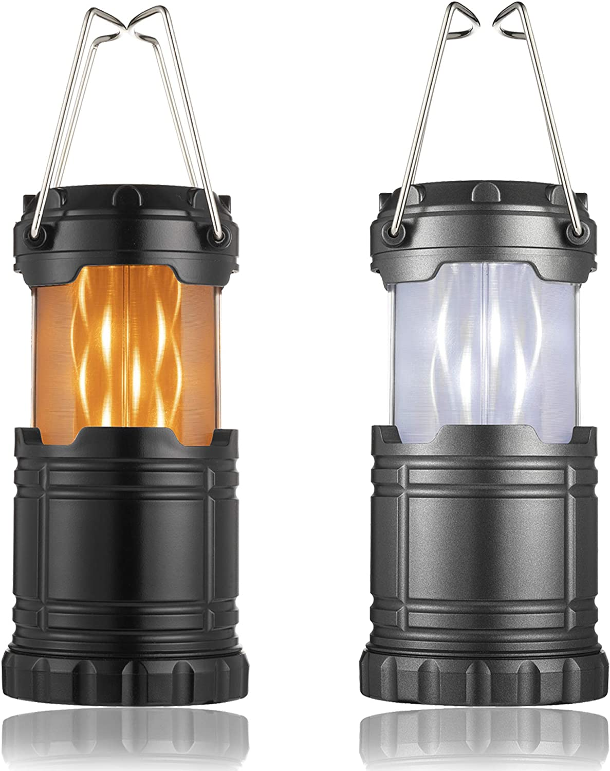 Irisvito Camping Lantern Camping Lights with Ultra Bright Lights and Flickering Flame Lights Collapsible Portable Mini LED Lantern, Waterproof Camping Lantern for Outdoor, Hiking, Hurricanes, 2 Pack