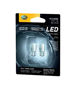HELLA 921LED 5K 5,000 Kelvin Warm White LED-1W LED Performance Bulb Set, 12V, 1W 2 Pack