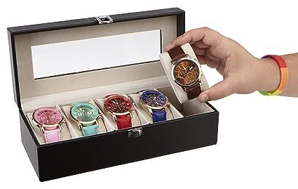 Amazoncom Mind Reader Watch Box Organizer Case Fits 5 Watches