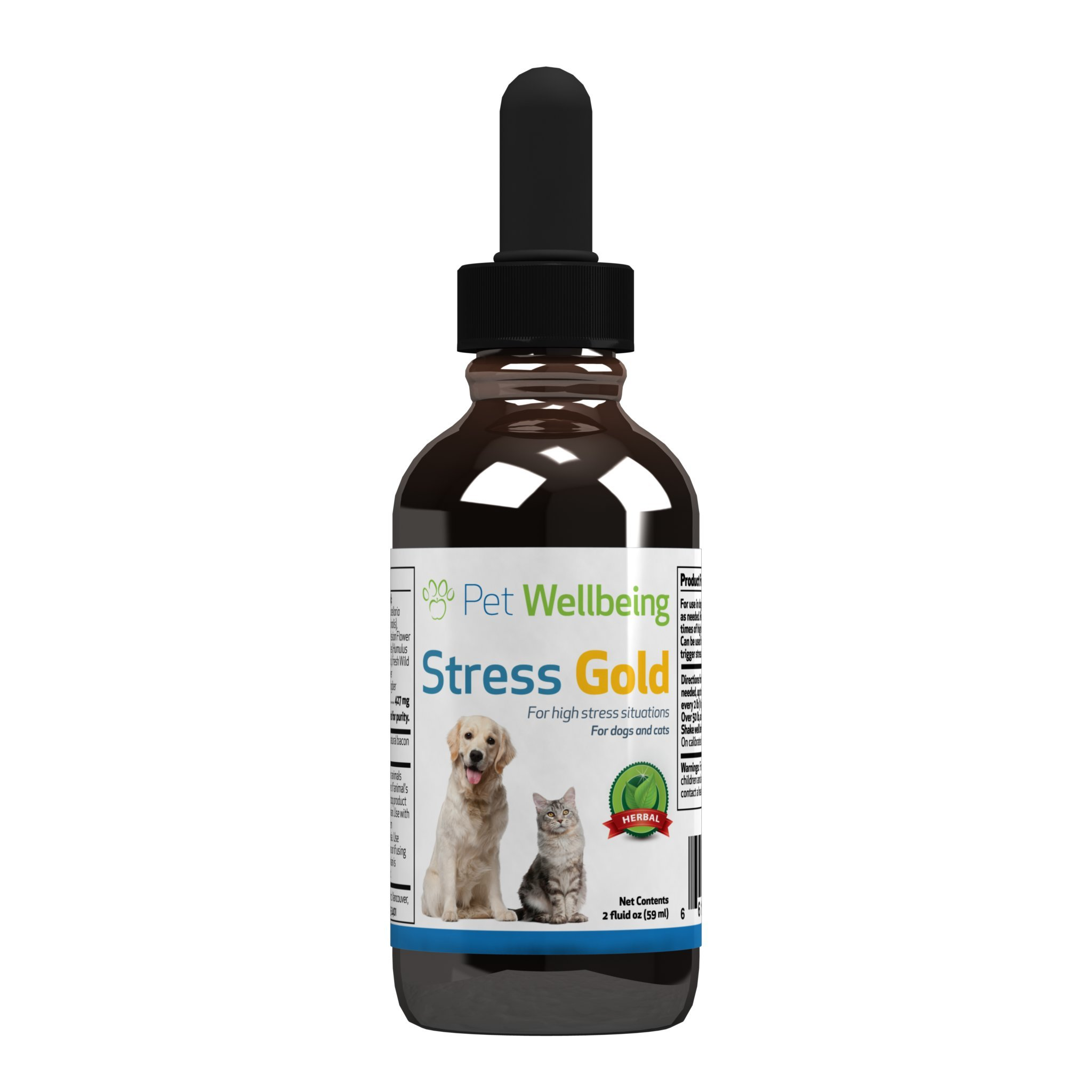 Pet Wellbeing - Stress gold for Cats - Organic Natural Cat Calming and Anxiety Relief - For Stressful Situations in Felines - 2 oz(59ml)