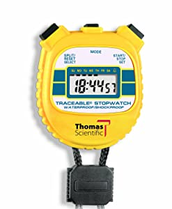 """Thomas 1042 Traceable ABS Plastic Shockproof and Waterproof Stopwatch with LCD Display, 0.01 percent Accuracy, 2-3/8"""" Length x 2-1/8"""" Width x 1/2"""" Thick"""