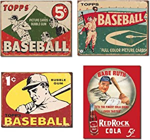 Baseball Tin Sign Bundle - Topps 1955 Picture Cards Bubble Gum, Topps 1954 Full Color Picture Cards, Topps 1959 1 Cent Bubble Gum and Babe Ruth/Red Rock Cola (reproductions)