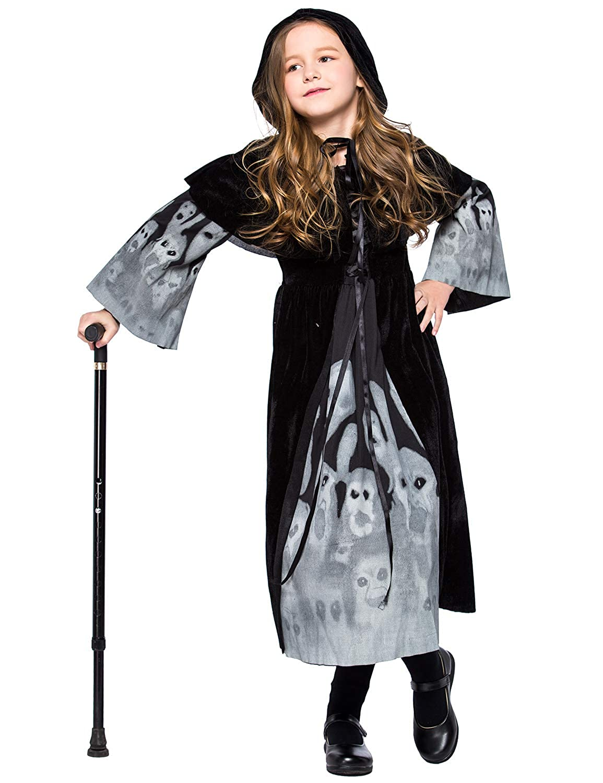 Girls Witch Costume Halloween Cosplay Dress Ghost Skeleton Luminous Skirt