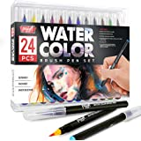 Paint Mark Real Brush Pens, 24 Colors for Watercolor Painting with Flexible Nylon Brush Tips, Calligraphy and Drawing with Wa