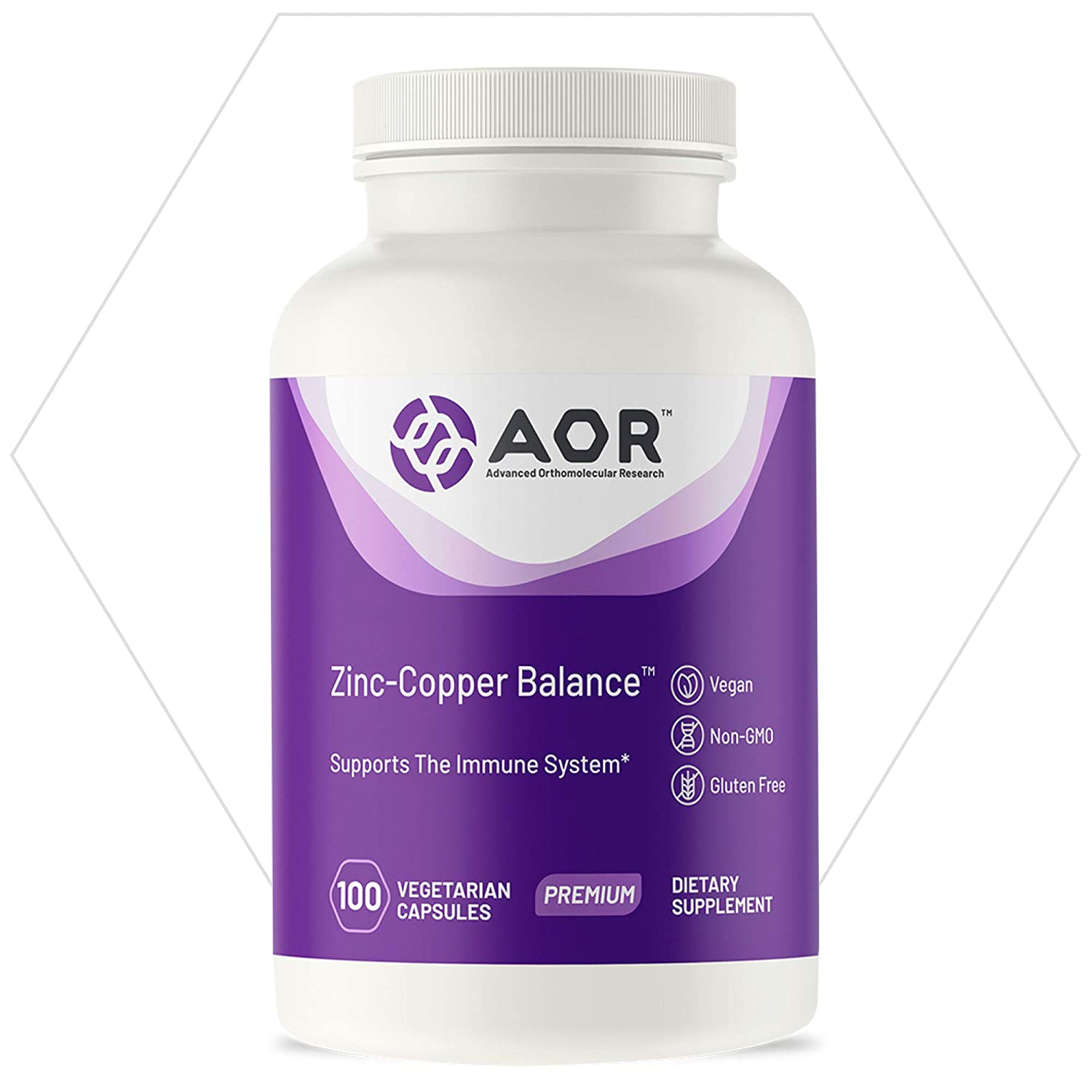 AOR, Zinc-Copper Balance, Mineral Support for Prostate, Immune and Skin Health, Dietary Supplement, 100 Servings (100 Capsules)