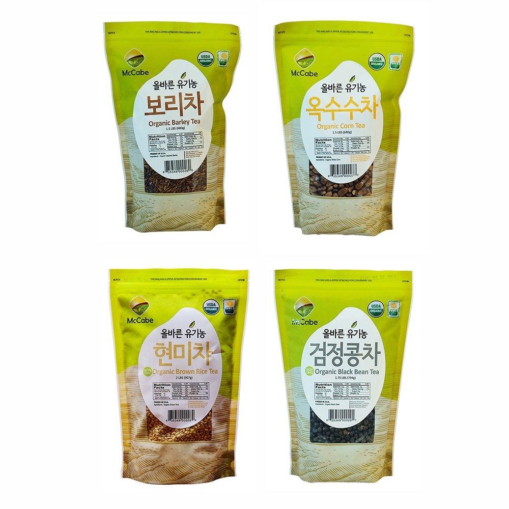 McCabe Organic Tea, 1.5-Pound (4-Pack) (Corn Tea, Barley Tea, Black Bean Tea, and Brown Rice Tea)
