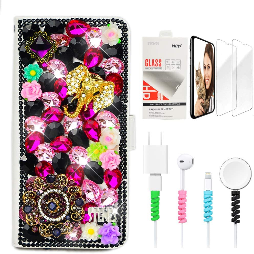 STENES Bling Wallet Phone Case Compatible with Google Pixel 2 XL - Stylish - 3D Handmade Elephant Pretty Jewelry Floral Design Leather Cover Case with Screen Protector & Cable Protector - Black