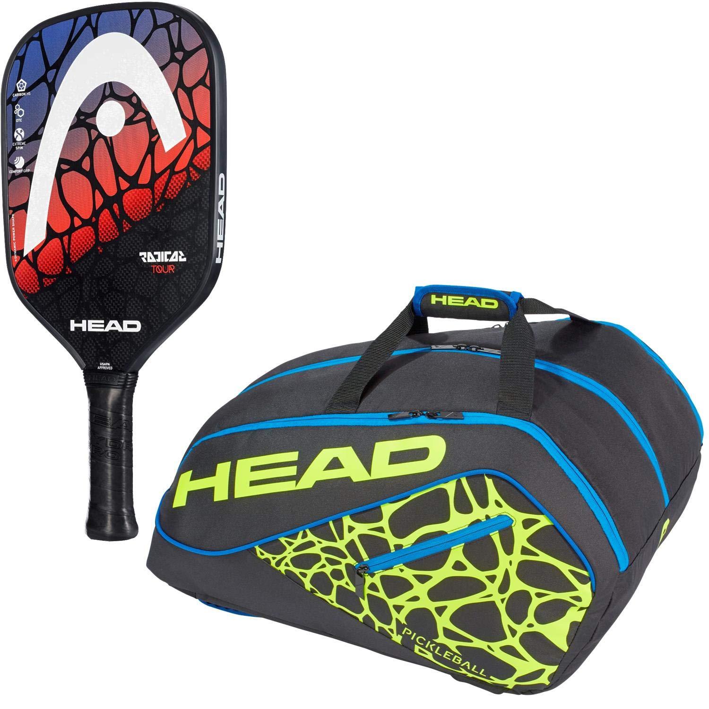 HEAD ラディカルピックルボールパドルスターターキットまたはセットのセット ブラック/ネオンイエロー/ブルーツアーチームスーパーコンビ ピックルボールバッグ付き(初心者や中級選手に最適) B07H6XKSTN Radical Tour Paddle Radical Tour Paddle