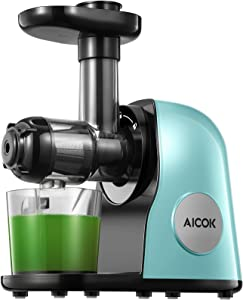 Juicer Machines, Aicok Slow Masticating Juicer Extractor Easy to Clean, Quiet Motor & Reverse Function, BPA-Free, Cold Press Juicer with Brush, Juice Recipes for Vegetables and Fruits, Matcha Green