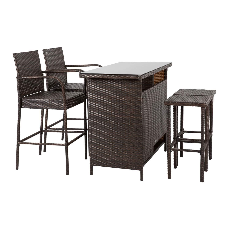 Amazon com kinbor patio outdoor wicker barstool set pool furniture patio high chair brown 5 piece patio bar set garden outdoor