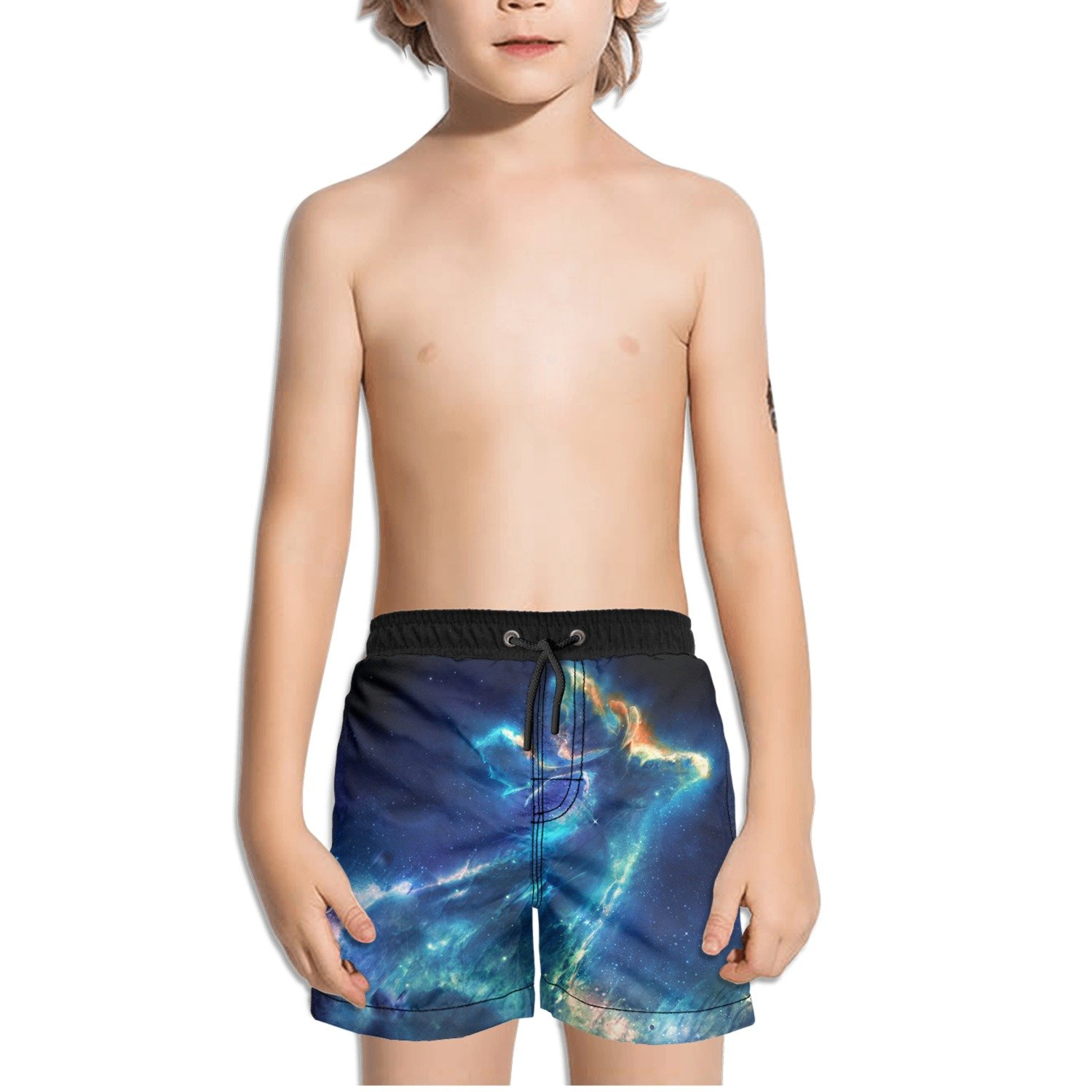 FullBo Galaxy Fantasy Deer Elk Little Boys Short Swim Trunks Quick Dry Beach Shorts