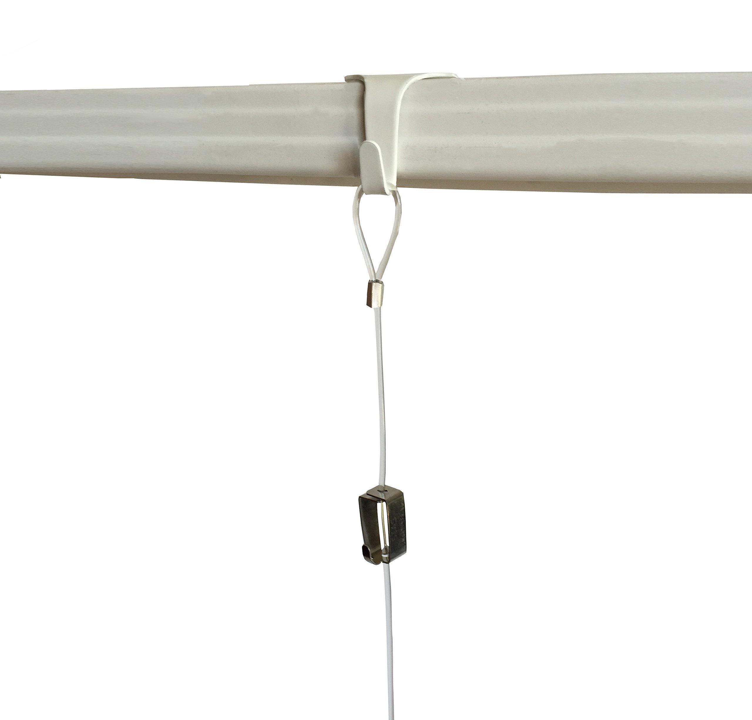 10 Pack each STAS Moulding Hooks + Perlon Cords with Loop + Smartspring Hooks (59'' perlon cord, White)