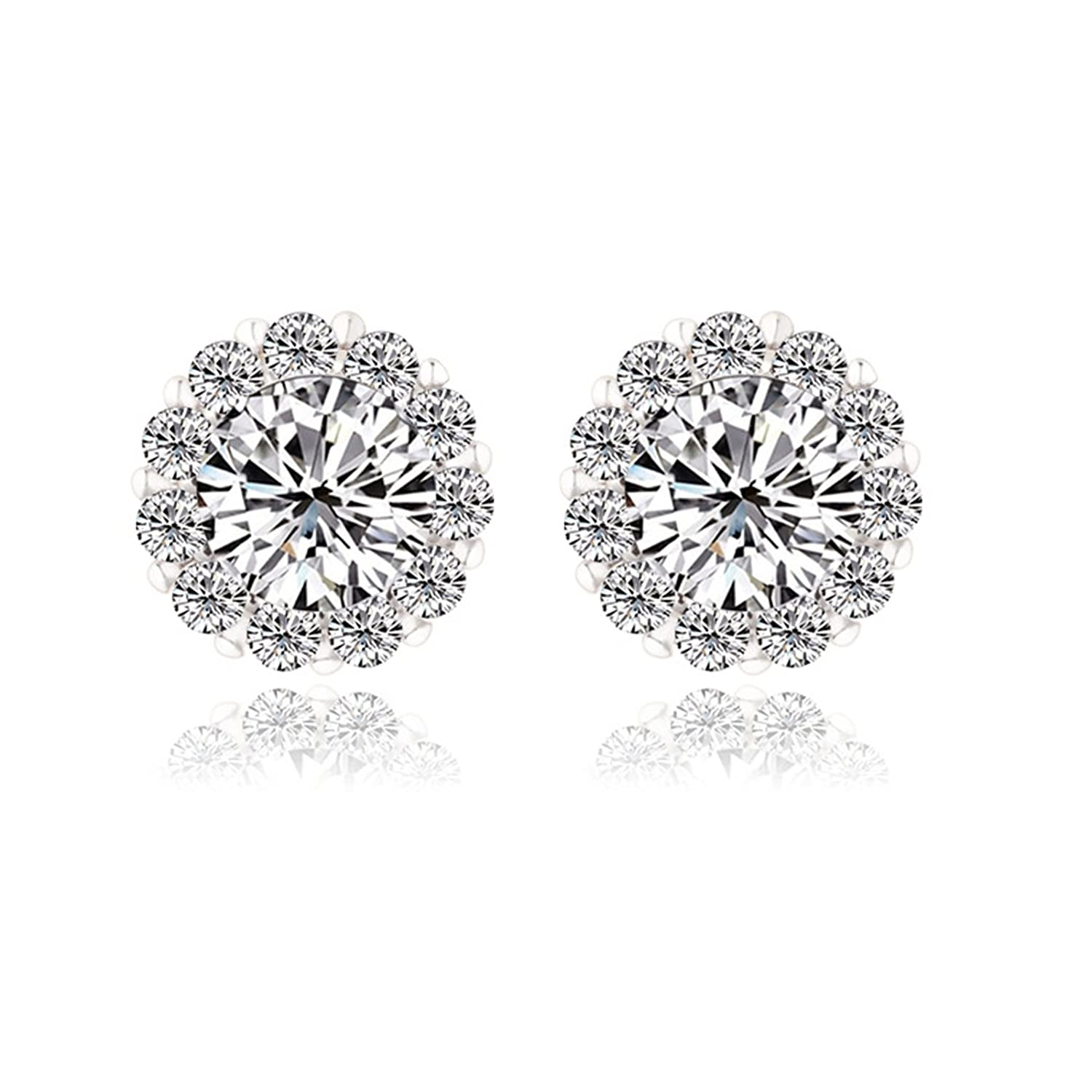 Beydodo Gold Plated Earrings Stud for Womens White Cubic Ziconia Earrings Round Brilliant Shape
