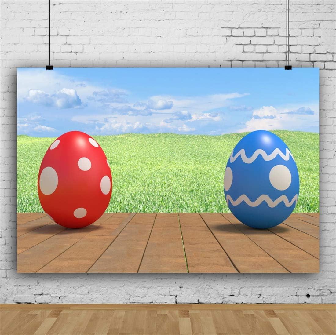 Yeele-Easter-Backdrop 6x4ft Easter Photography Background Eggs Blue Sky Grassland Brown Wooden Floor Sunshine Photo Backdrops Pictures Studio Props Wallpaper