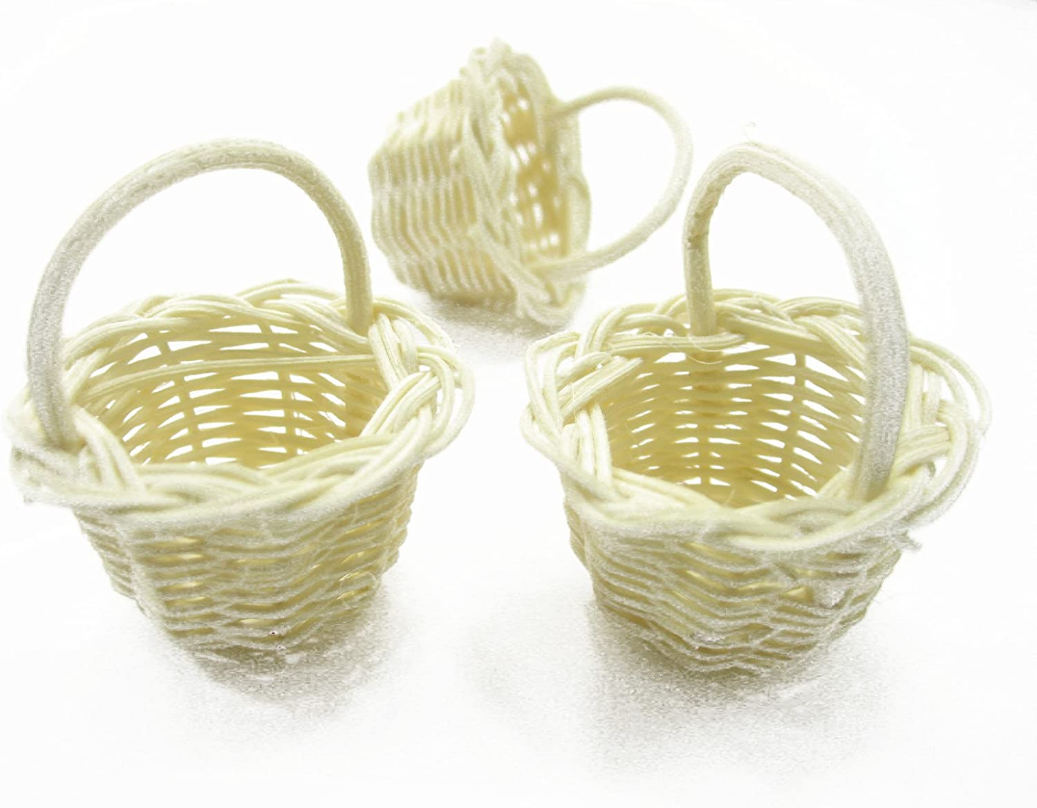10 Small Round Handmade Wicker Baskets Dollhouse Miniatures Supply Charms 9519