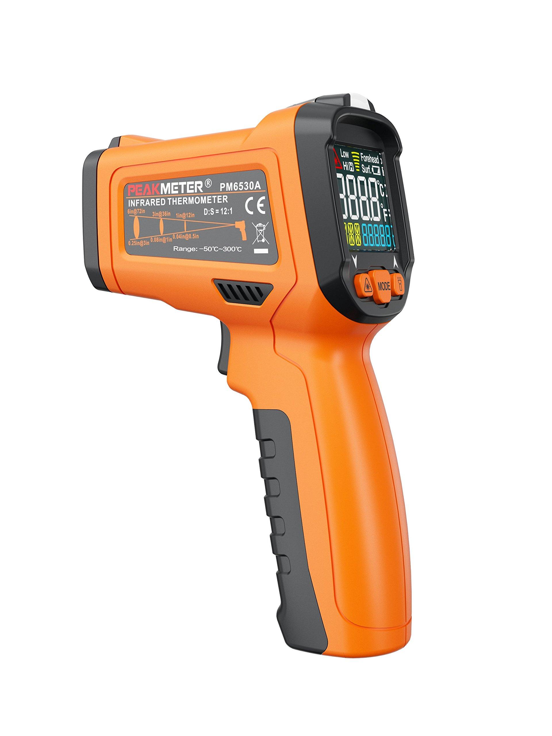 PEAKMETER PM6530A 1080 Non-contact Digital Laser Infrared Thermometer Temperature Tester Temperature Gun -50-300℃(-58-572°F)Orange