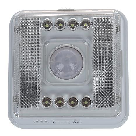 SODIAL(R) Blanco PIR infrarrojo 8 LED Lampara Luz de noche interior detector sensor
