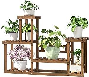 Wood Plant Holder Shelf Rack Indoor & Outdoor Multiple Flower Pot Display Shelf Indoor Storage Rack Holder Outdoor Plant Stand for Patio Livingroom Balcony Garden Yard