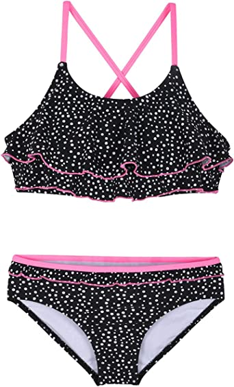 AOWKULAE Girls Bikini Swimsuits Two Pieces Ruffle Flounce Swimwear Bathing Suits 5-6 Years = Tag 128 Pink