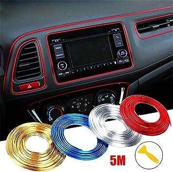 Car Decoration Trim for Door Dashboard,Car interior DIY Automobile motor Exterior Decoration Moulding Trim Strip line Sticker including install Tool Gold